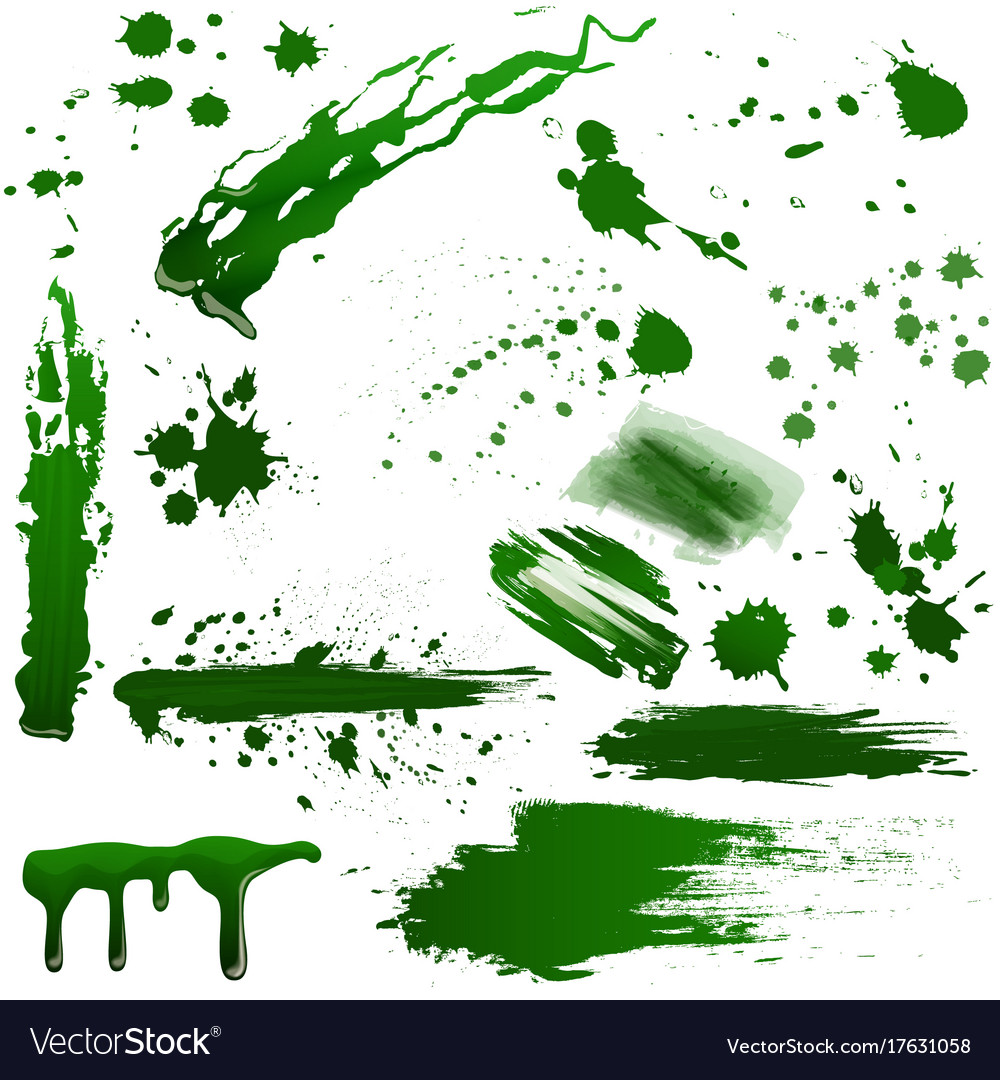 Realistic green toxic blood splatters set