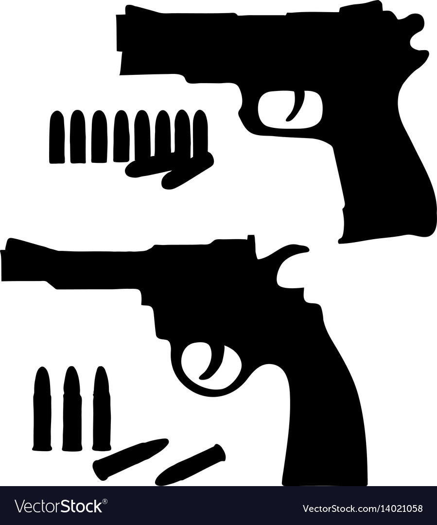 Silhouette sketch revolver and a pistol