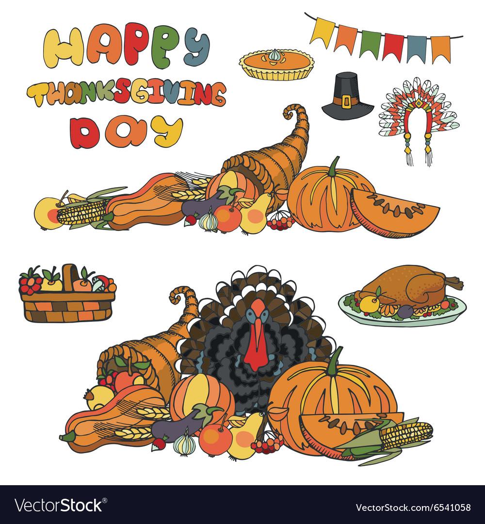Thanksgiving dayDoodle harvestholiday set
