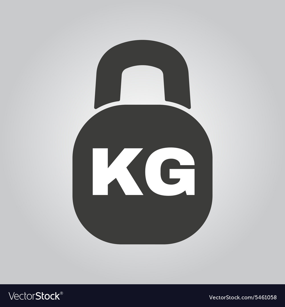 The kilogram icon Kg and weight symbol Flat