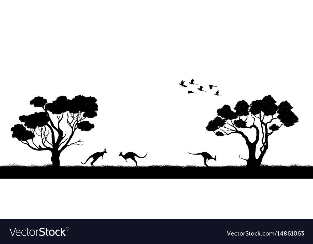 Australian landscape black silhouette