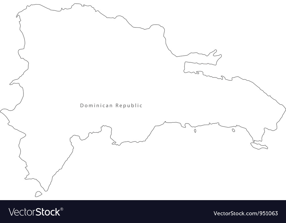 Black White Dominican Republic Outline Map Vector Image
