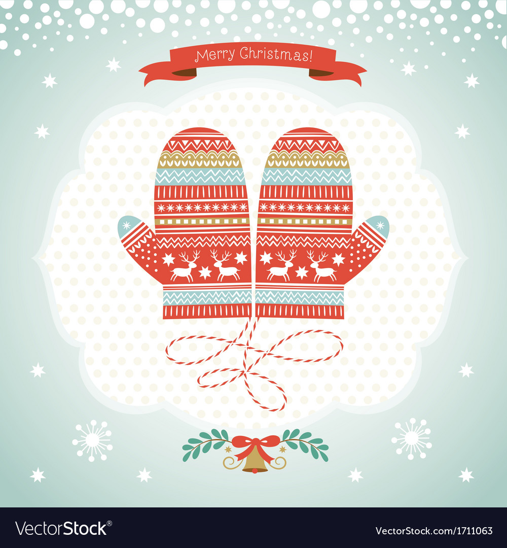 card design with christmas mittens vector image - Christmas Mittens