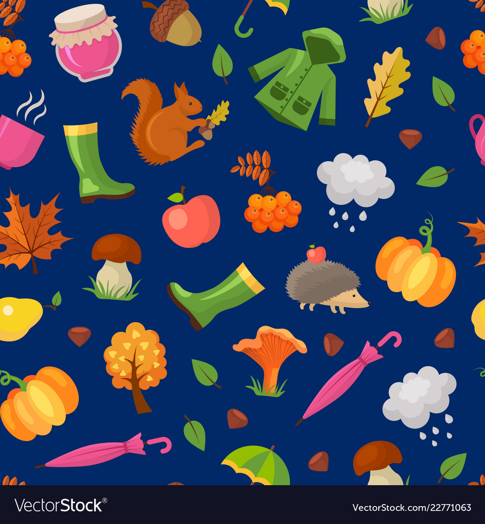 Cartoon autumn elements and leaves pattern