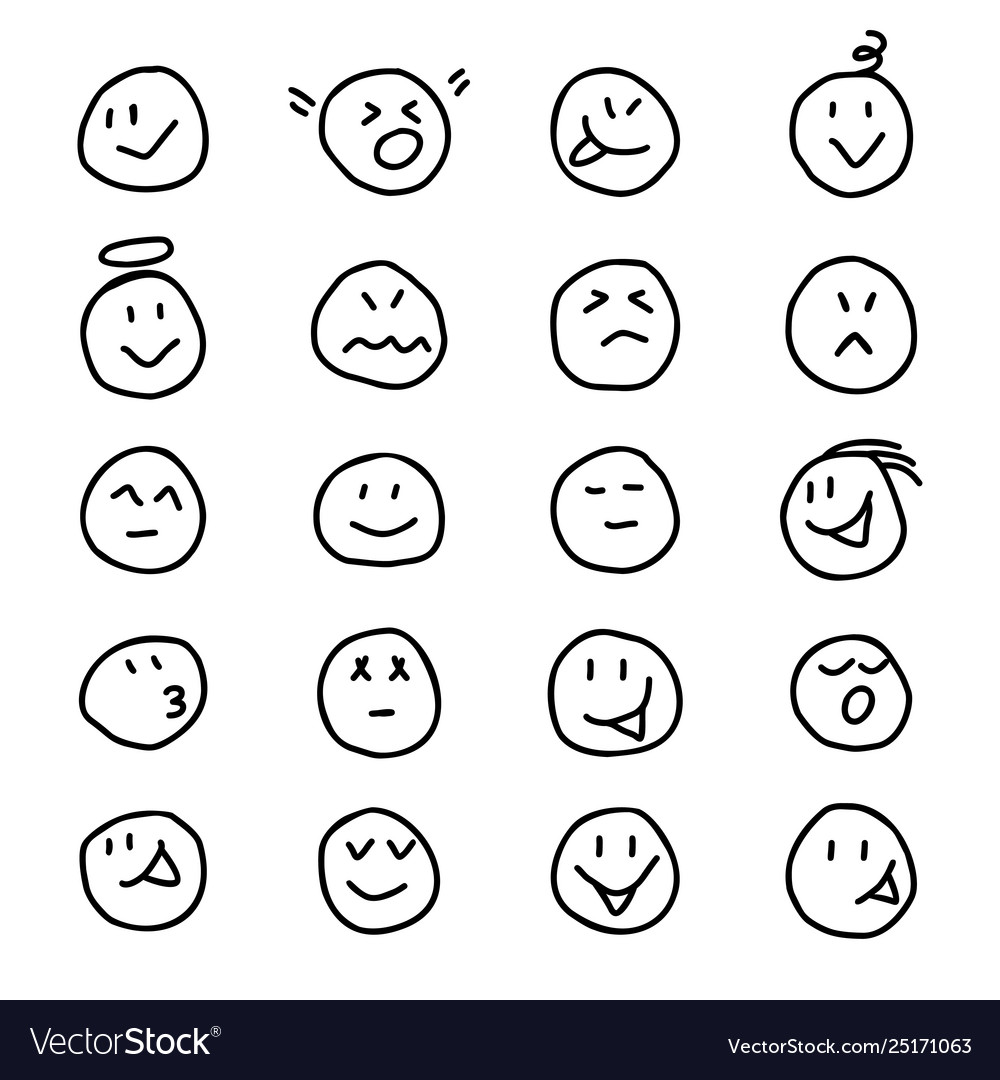 Collection emoticonssmiles icon in hand drawn