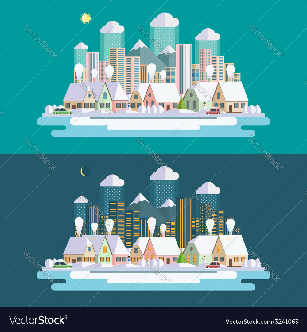 Flat design urban winter landscape