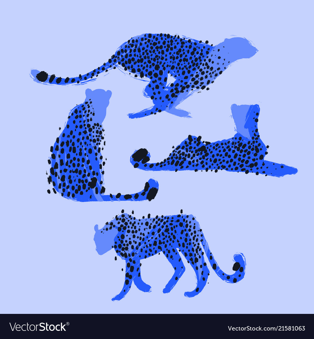 Graphic collection of cheetahs drawn with rough
