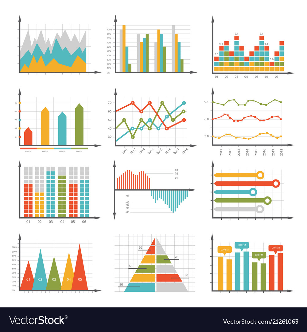 Infographics symbols business graphs and diagrams