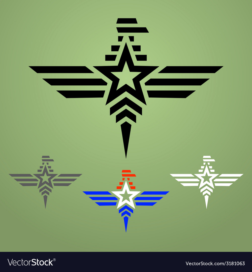 Military style eagle emblem set vector image
