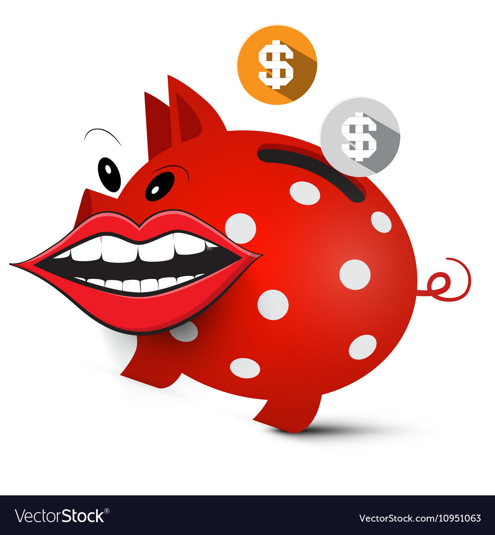 Money Pig Crazy Piggy Bank with Dollar Coins and