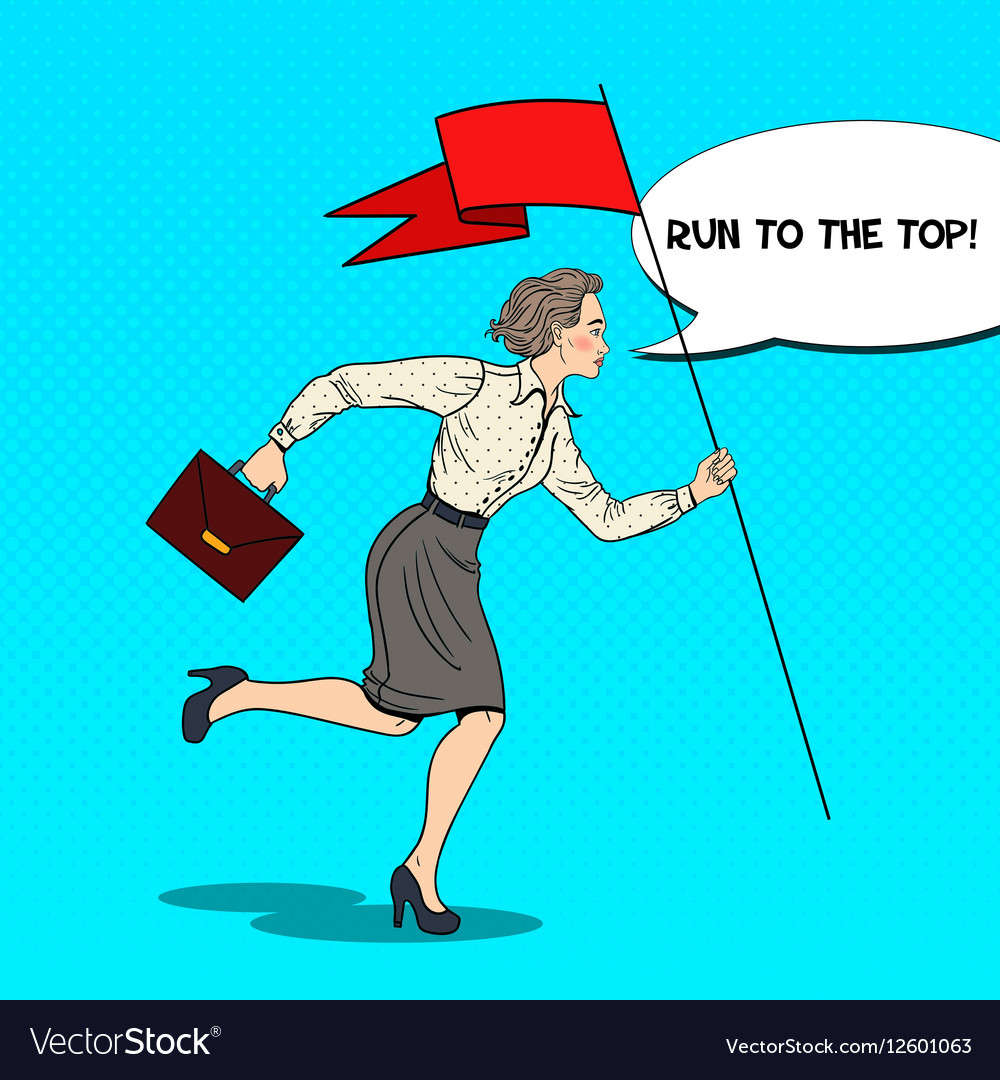 Pop Art Business Woman Running with Flag