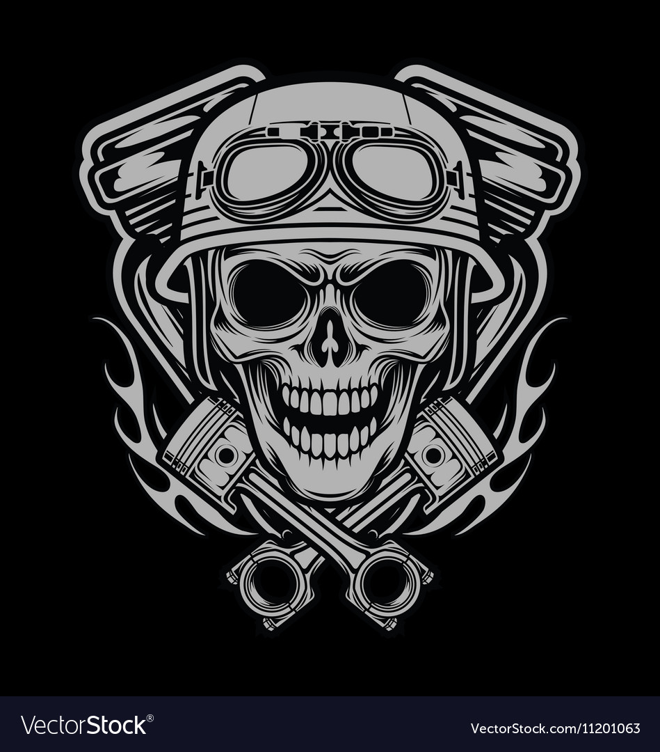 Riders Skulls With Machine and Piston Head