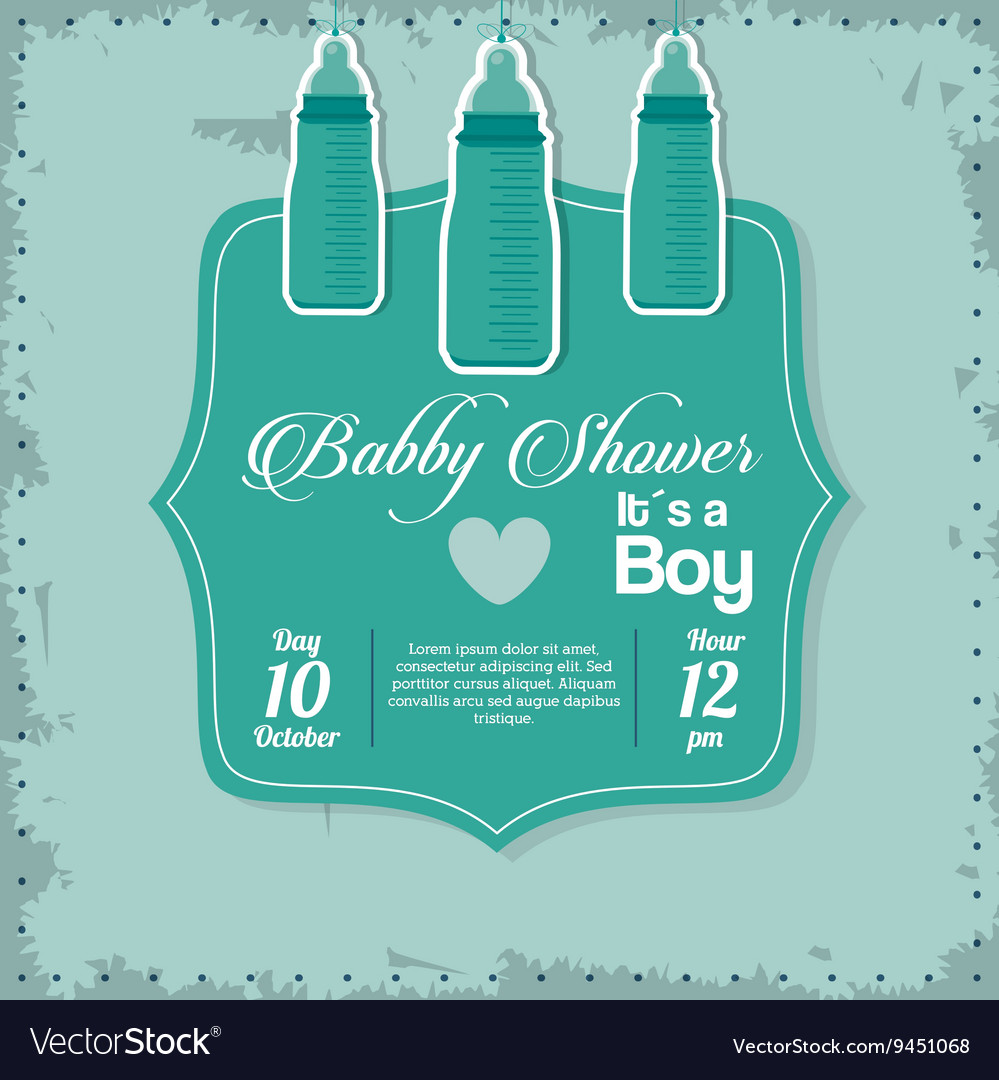 Baby Shower design baby bottle icon vector image