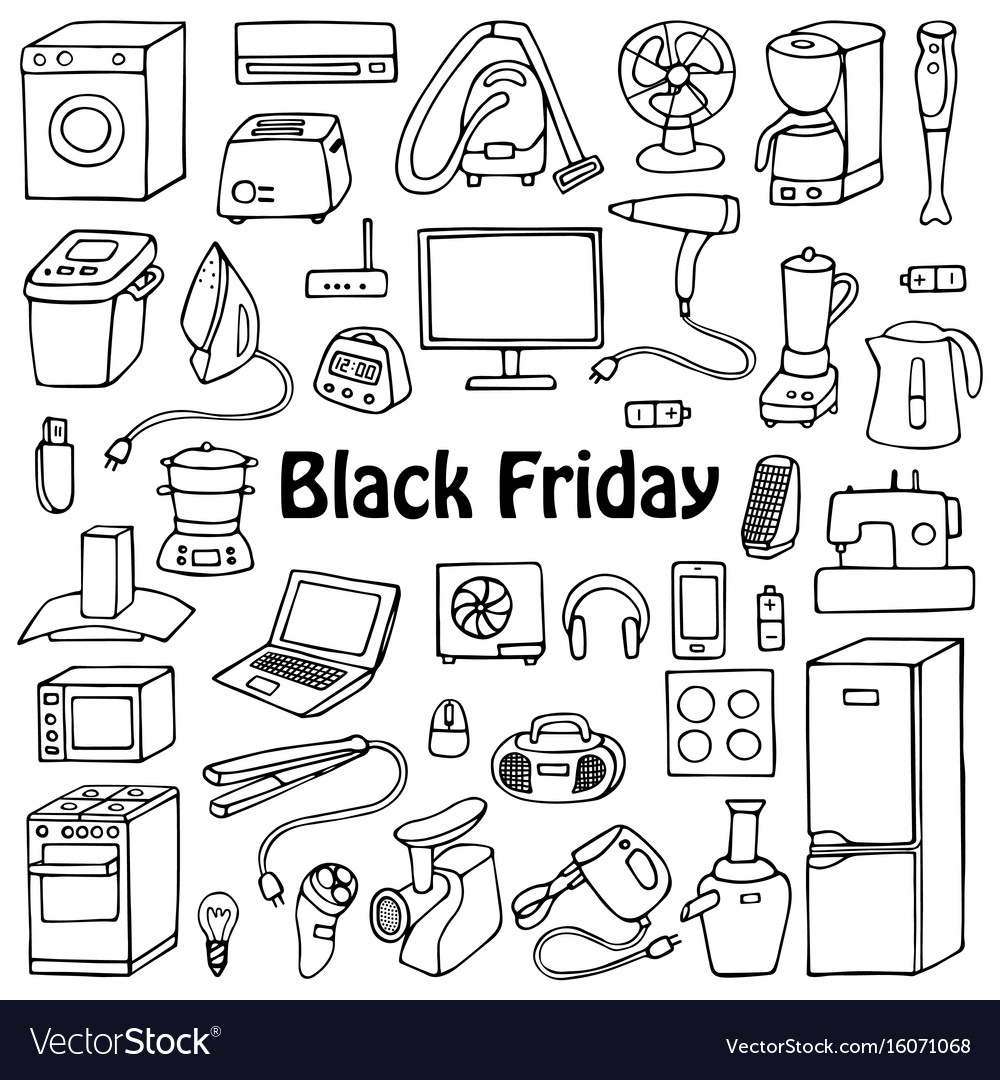 Black friday household set vector image