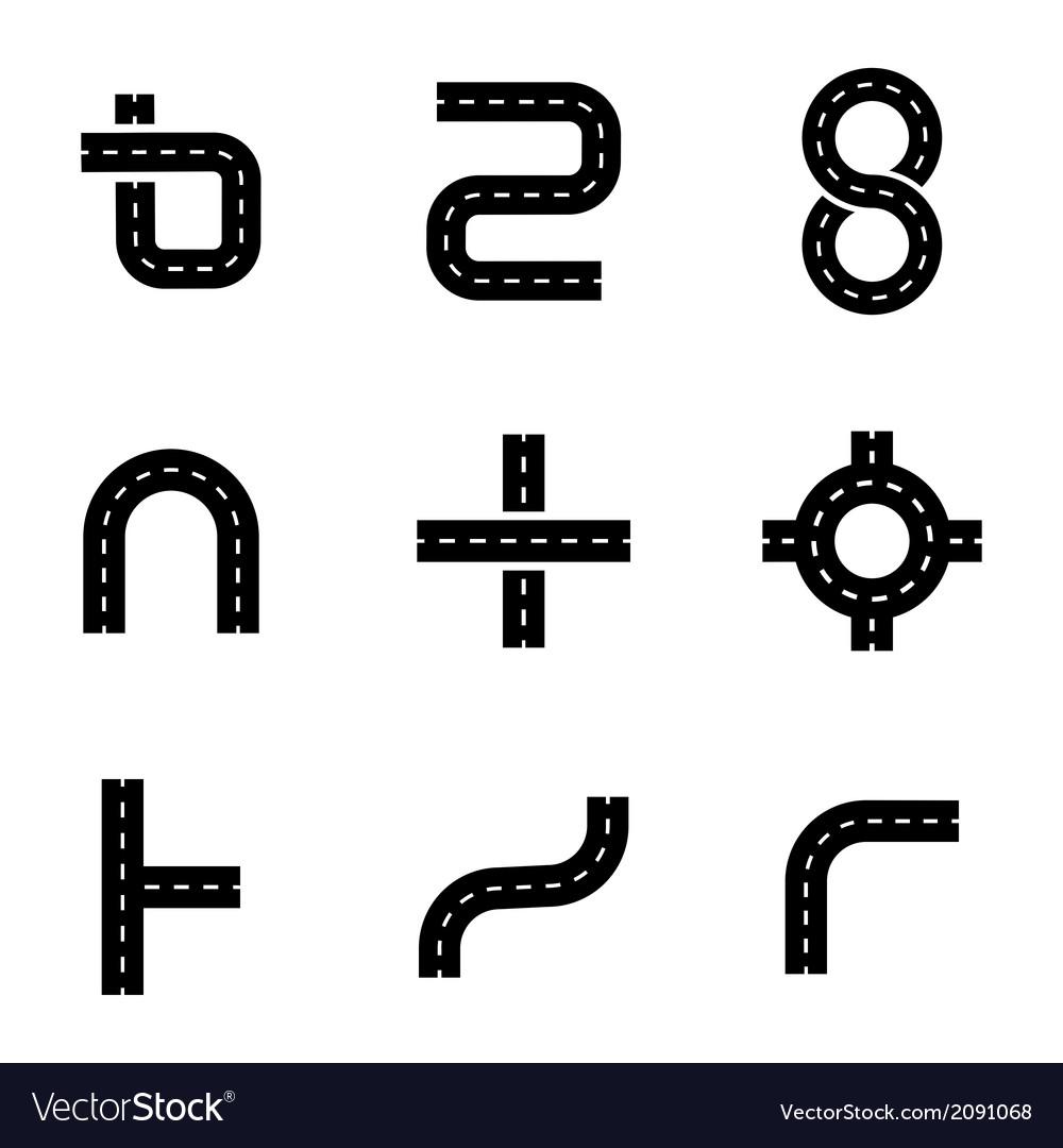 Black road elements icons set
