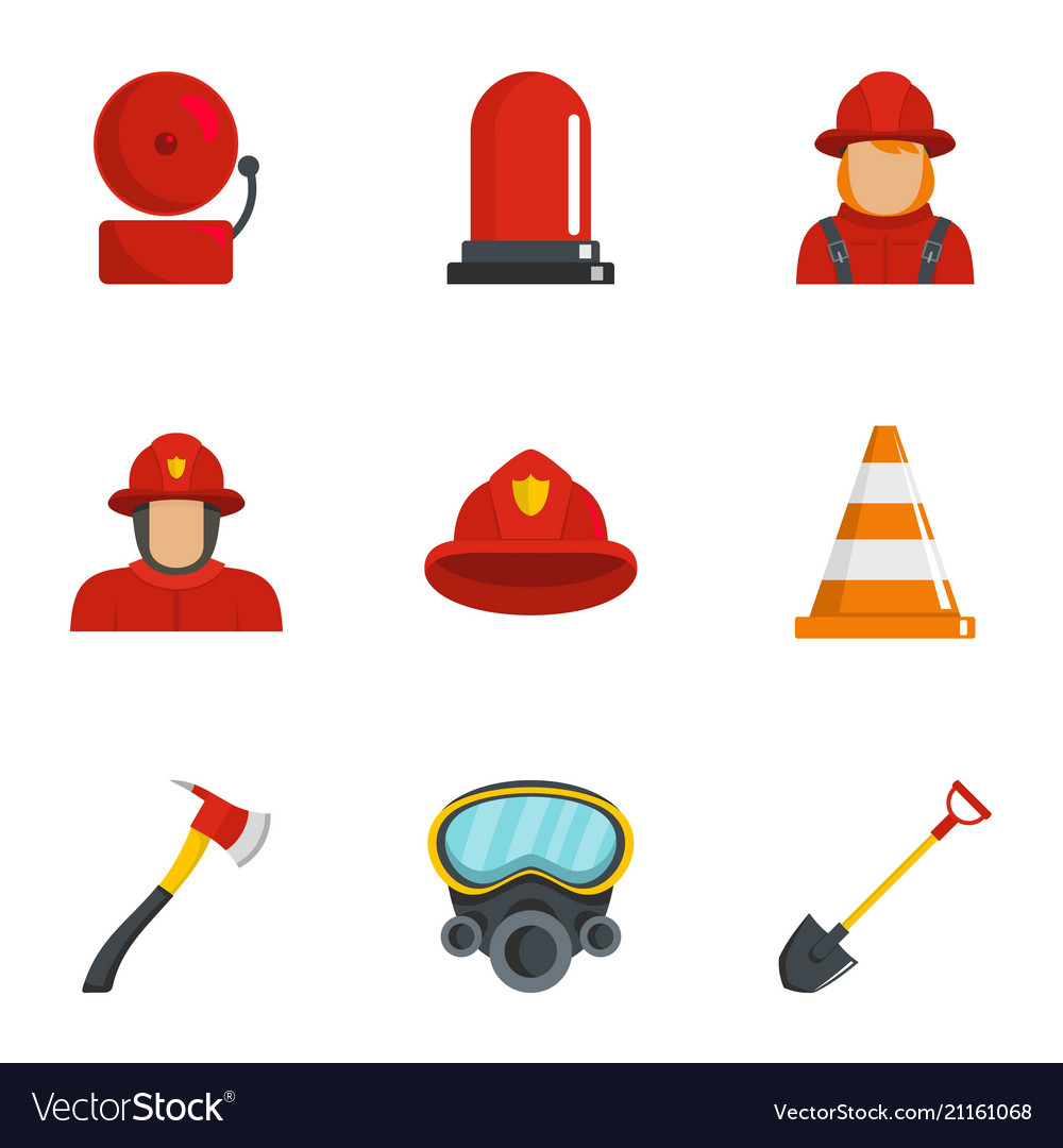 Firefighter icons set cartoon style