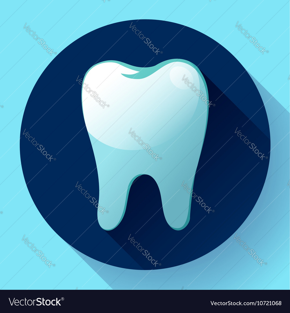 Flat tooth Icon with long shadow Dentist