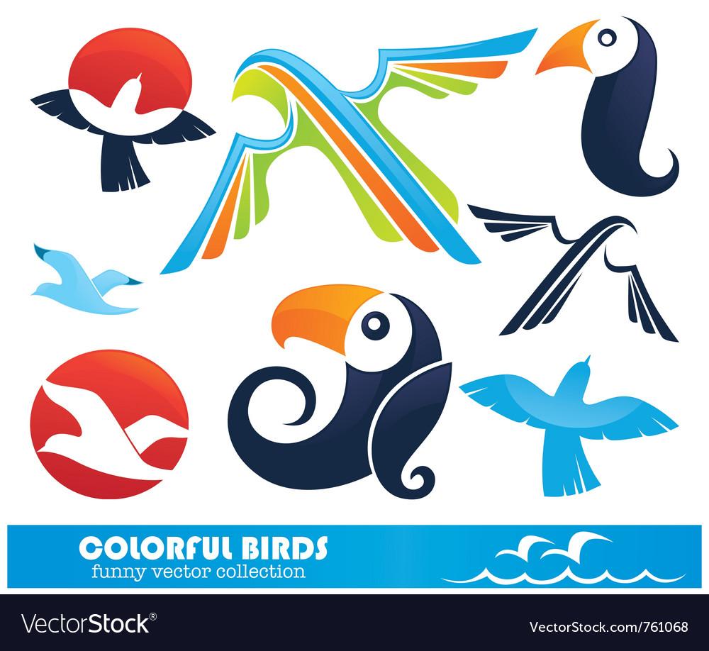 Funny cartoon birds collection