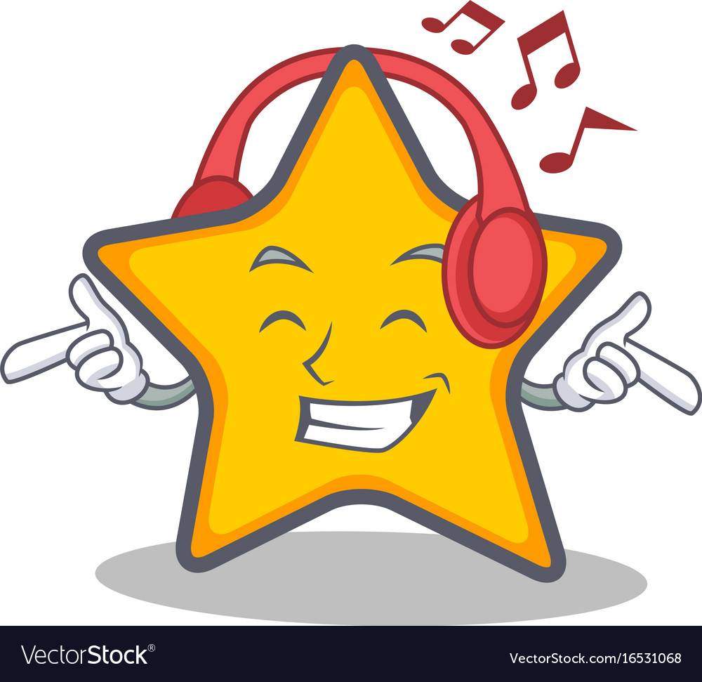 Listening music star character cartoon style