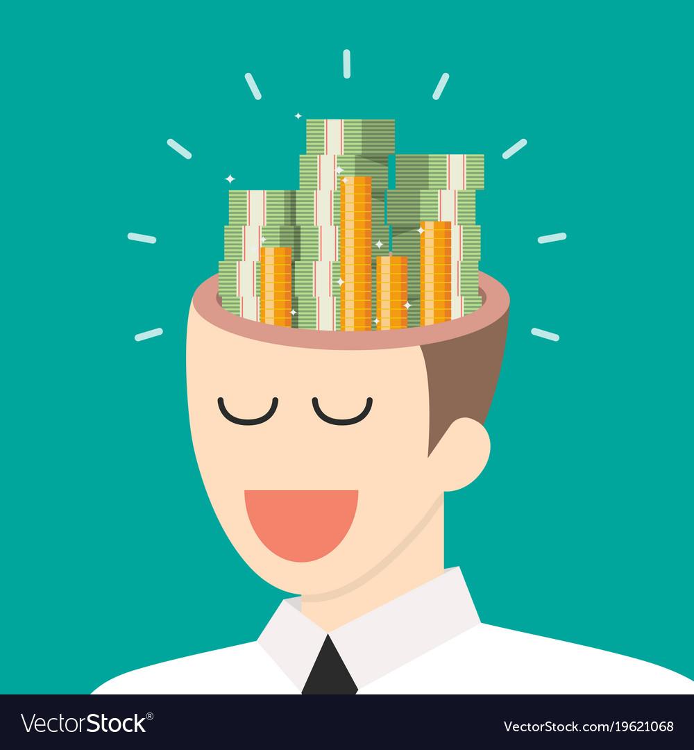 Pile of money in businessman head