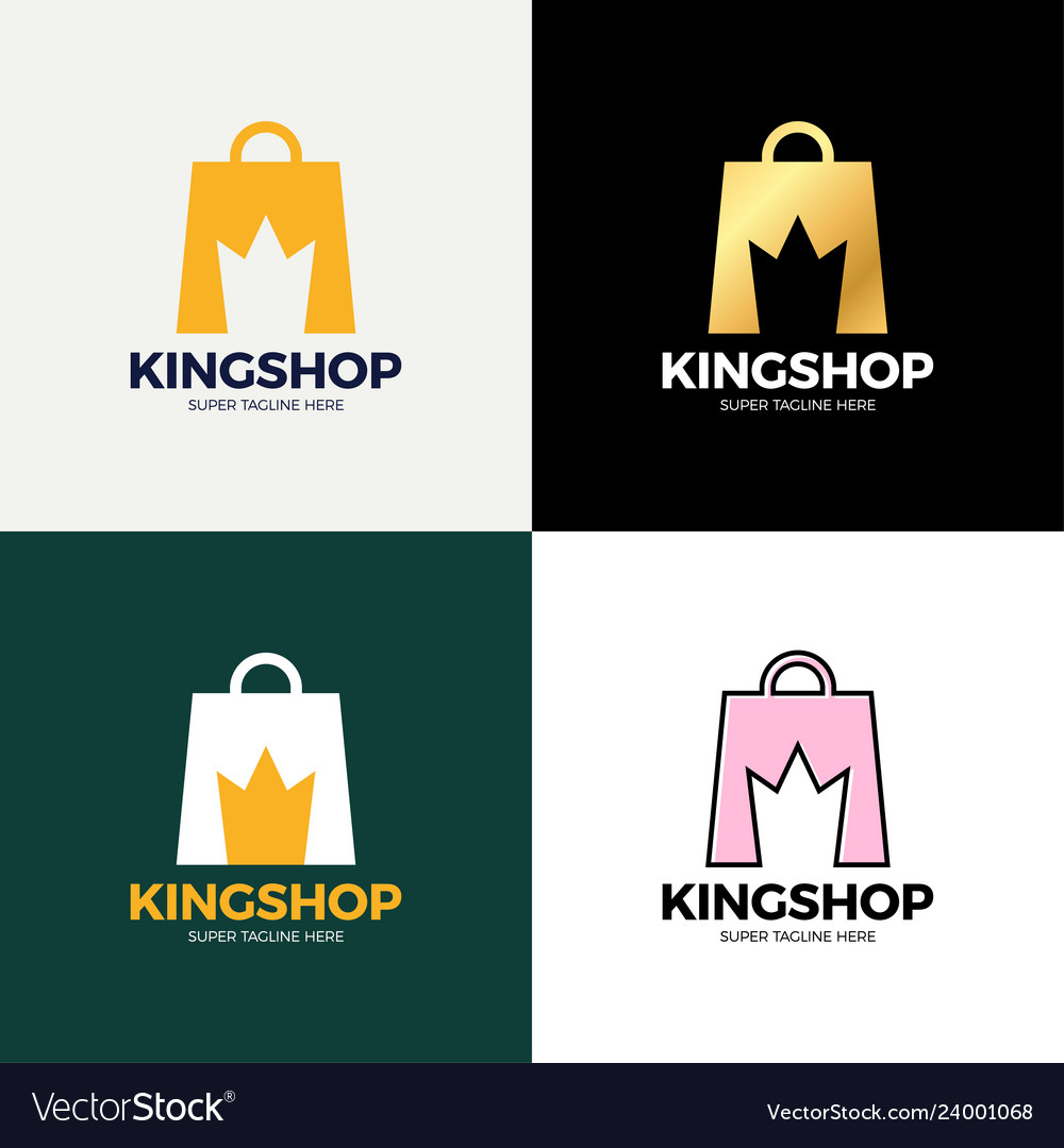 Shopping bag and crown in negative space crown