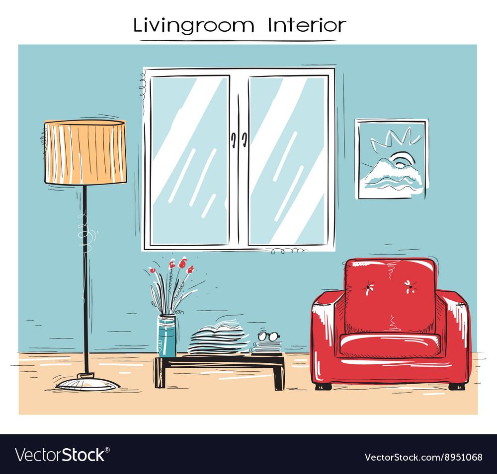 Sketchy of livingroom interior color hand dr vector image