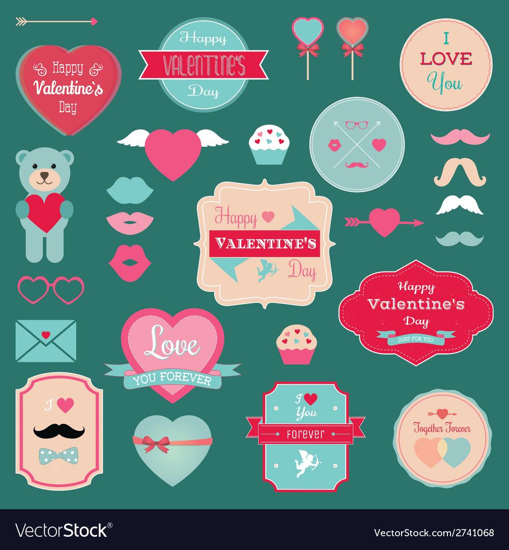 Valentines Day Badges Icons Set