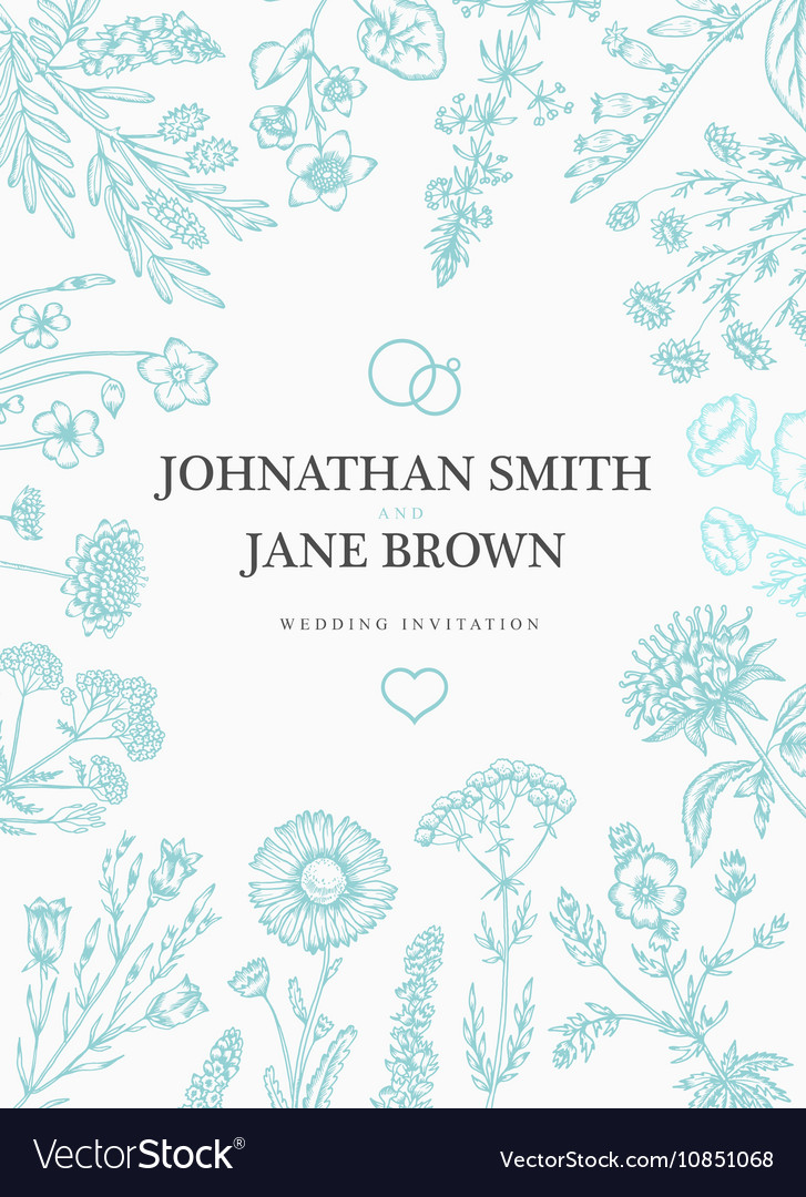 Wedding invitation in boho style Wild flowers and