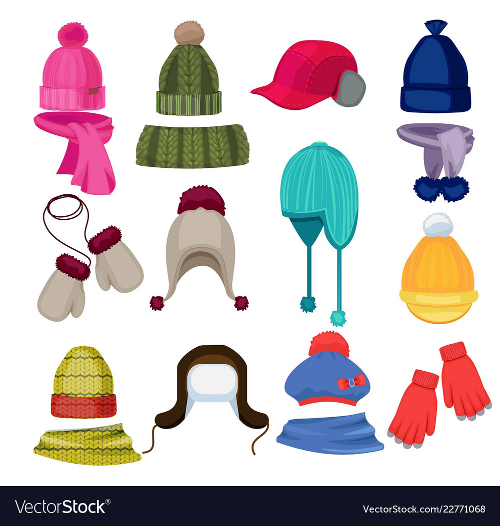 03f4cce7d2778 Winter hat cartoon headwear cap scarf and other Vector Image
