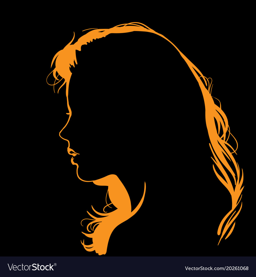 Woman face silhouette in backlight vector image