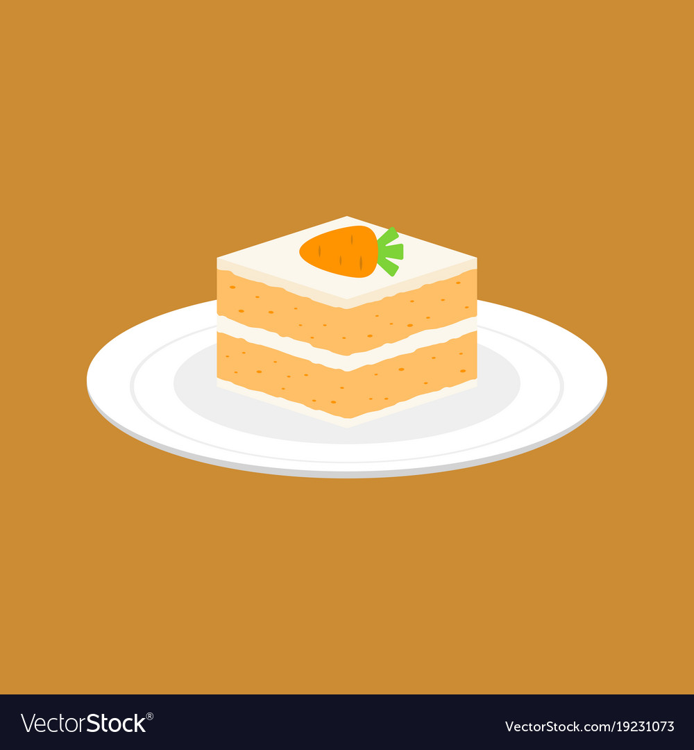 Carrot Cake In White Plate Flat Design Royalty Free Vector