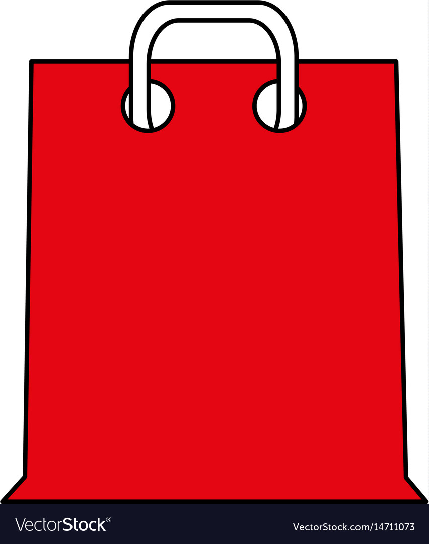 Color silhouette cartoon red bag for shopping with