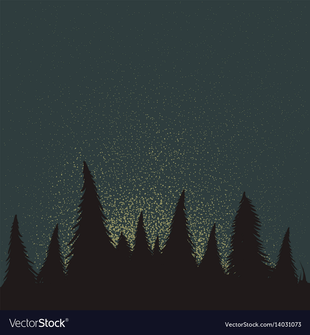 Forest silhouette at the night time