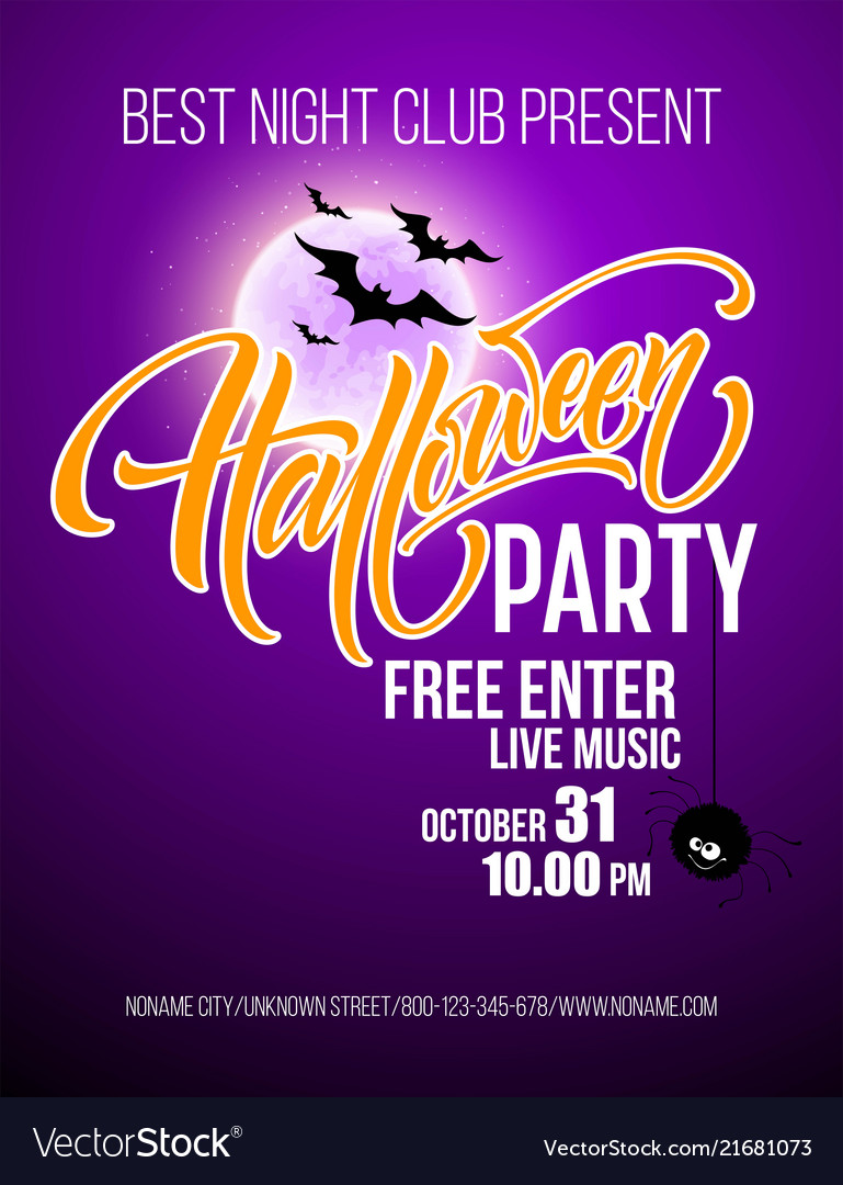 Halloween party poster with flying bats and yellow