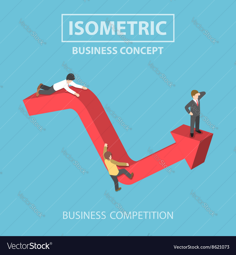 Isometric businessman climbs up to the top of grap