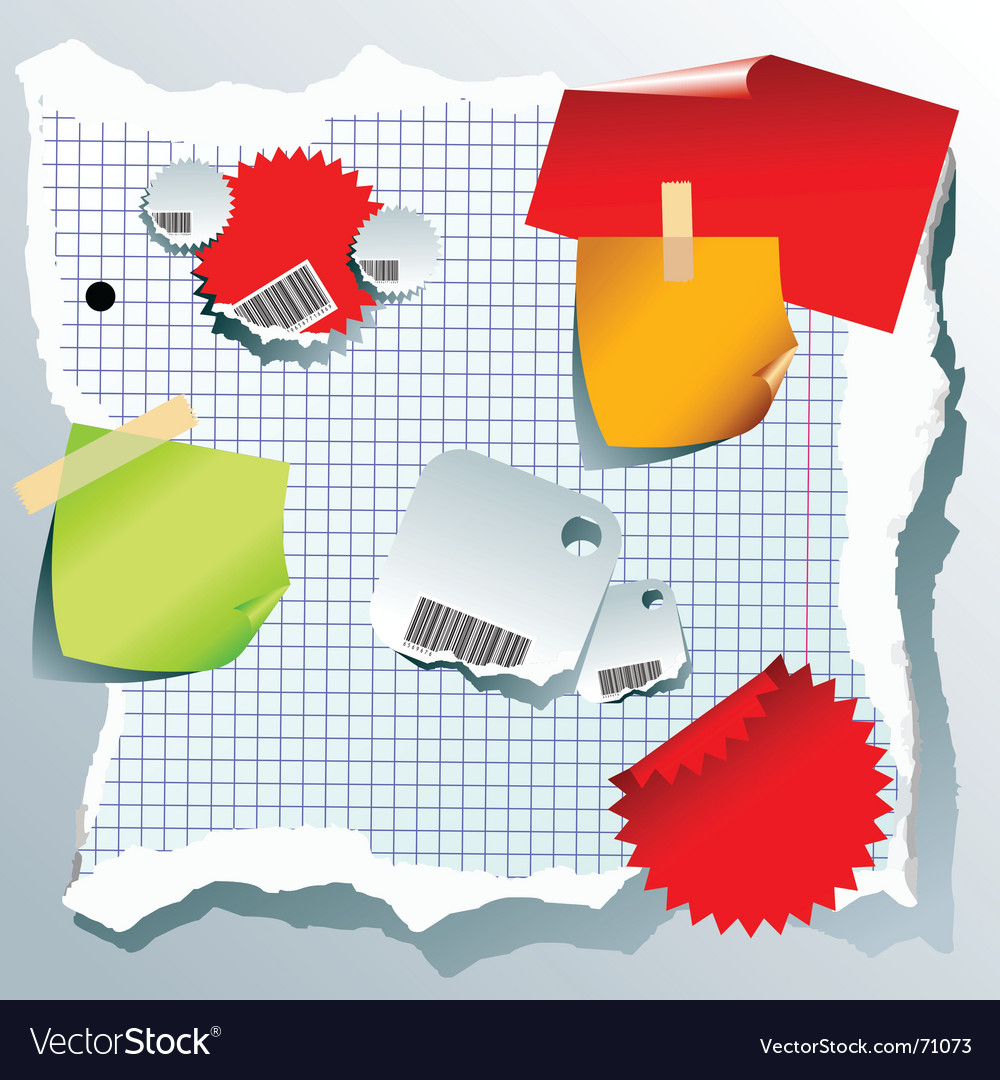 Note paper elements vector image