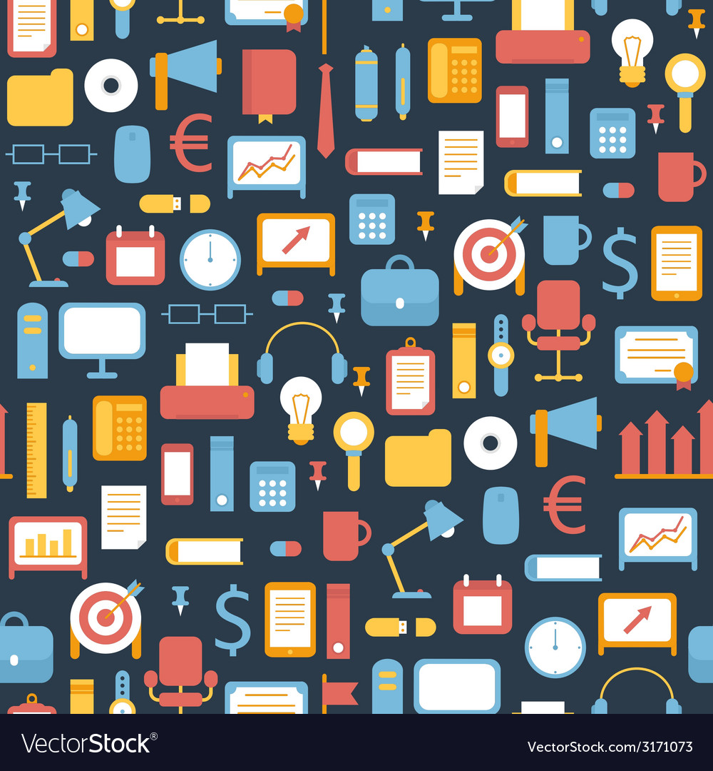 Seamless pattern of business marketing and office