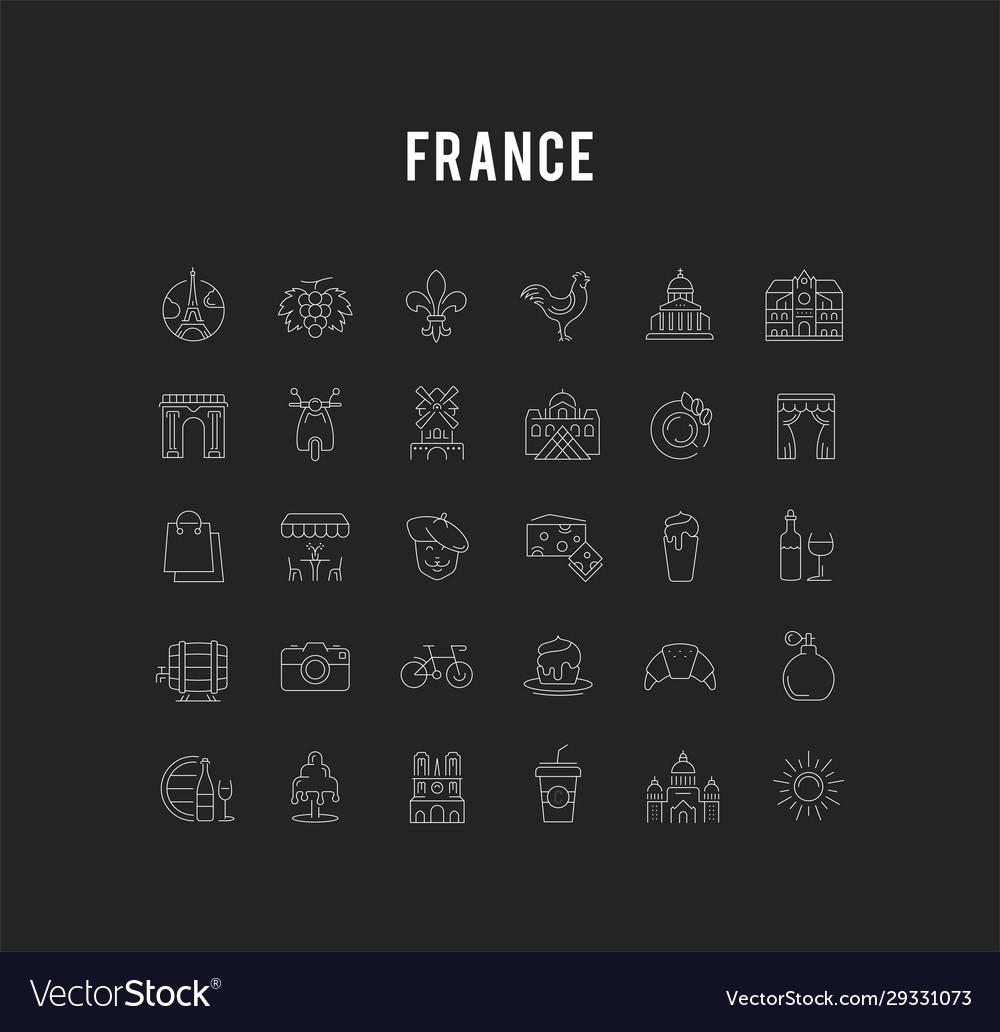 Set flat line icons france and paris
