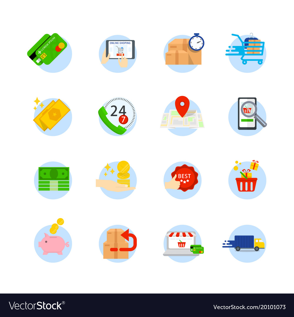 Set of e-commerce flat icons icons as shop