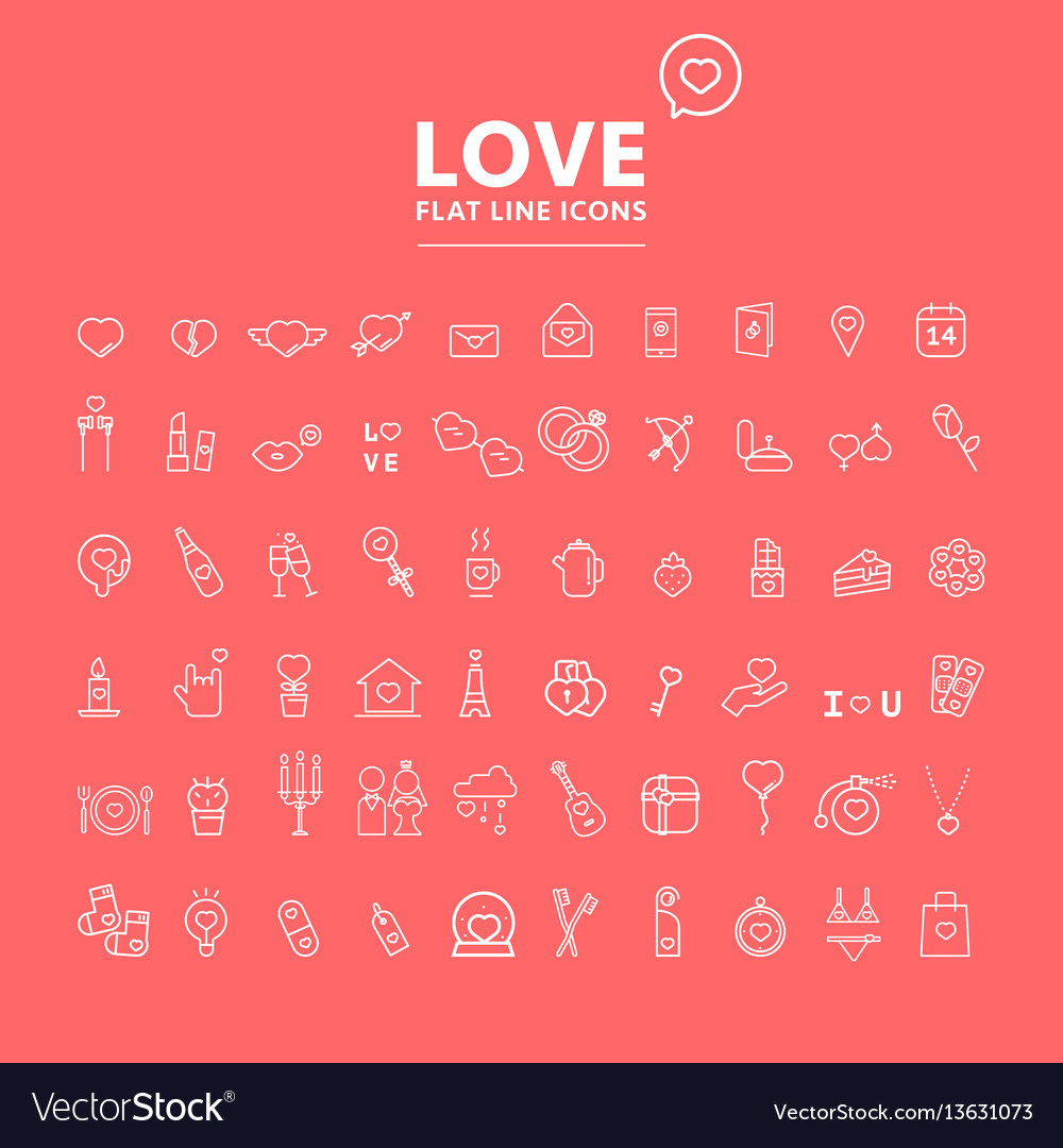 Set of valentines day objects and icon