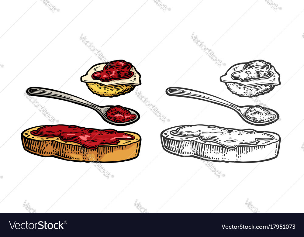 Spoon and slice of bread with jam vintage