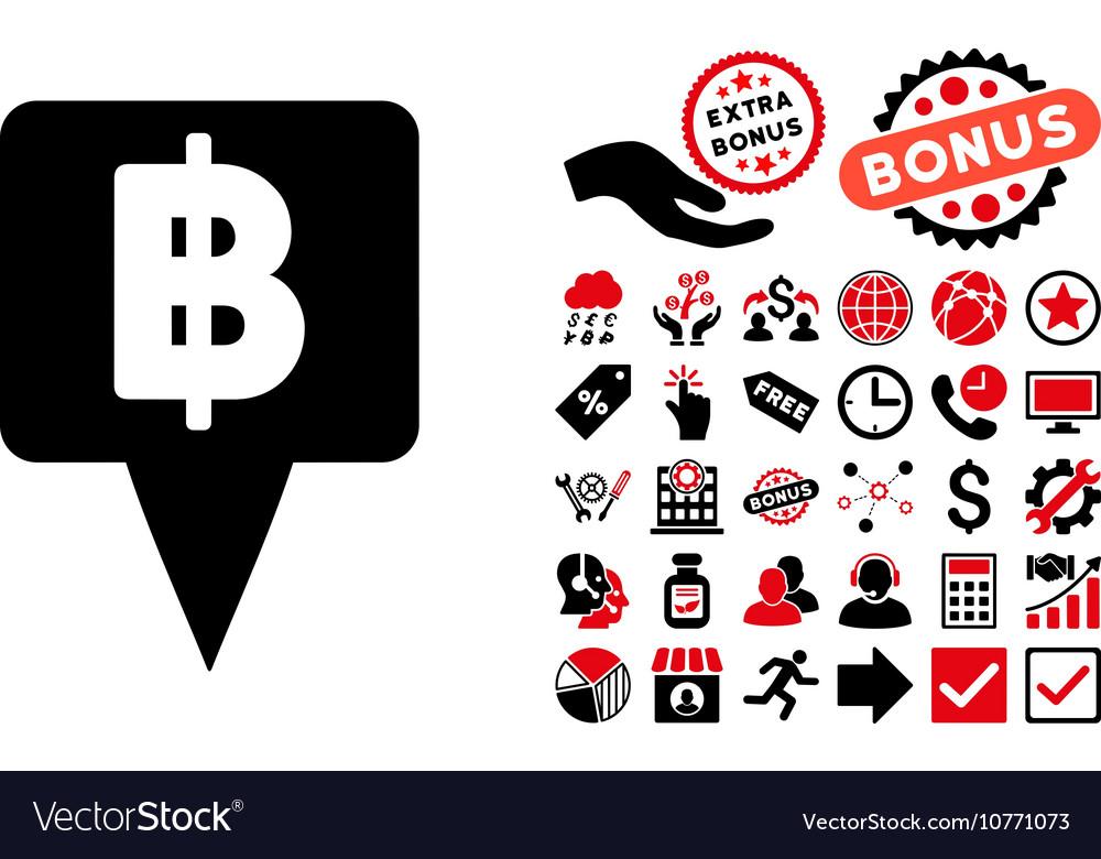 Thai Baht Map Pointer Flat Icon with Bonus