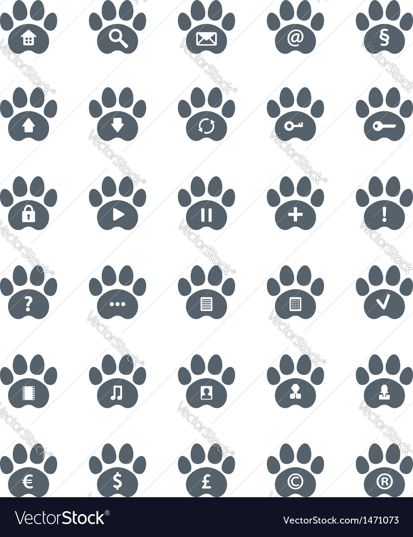 Traces of Cat Icons Set