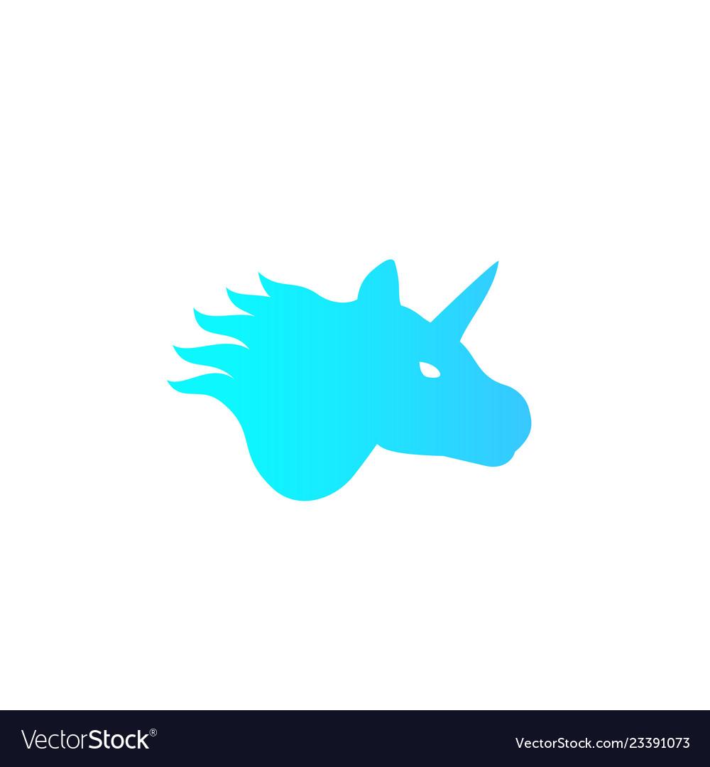 Unicorn logo on white mystical animal