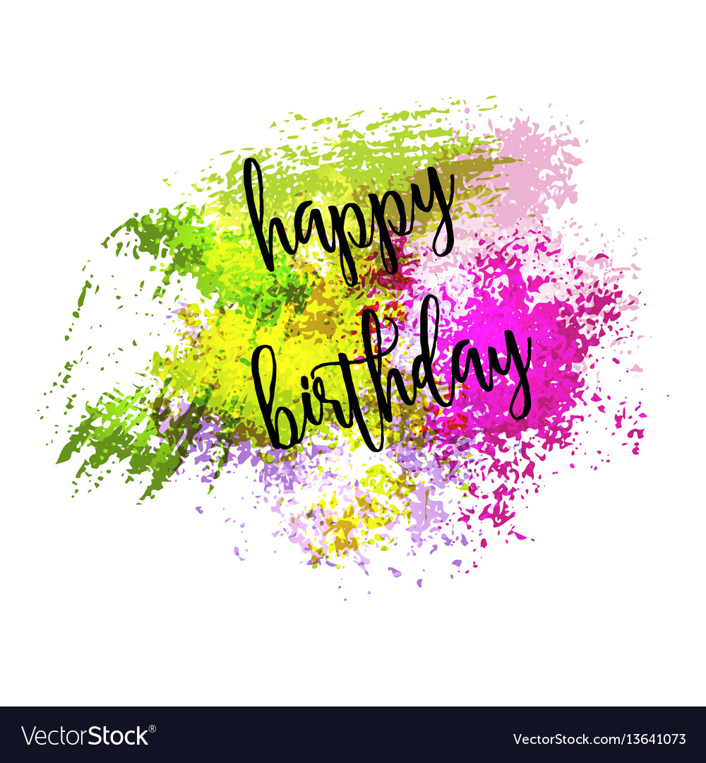 Outstanding Watercolor Greeting Card Happy Birthday Vector Image Personalised Birthday Cards Paralily Jamesorg