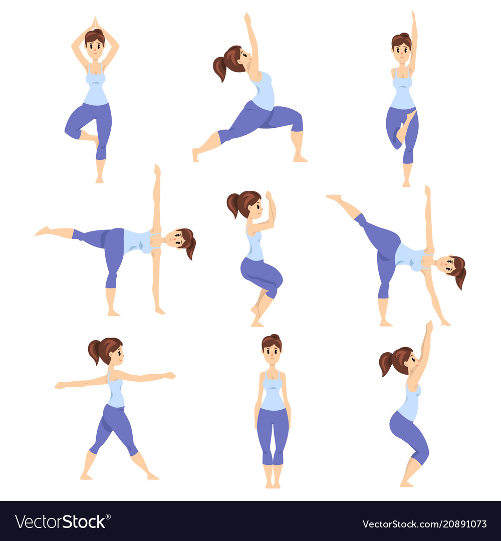 Young woman in different asanas poses set girl