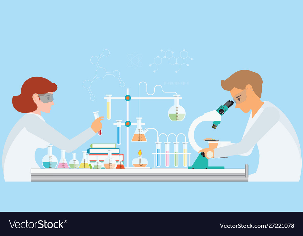 Chemists doing experiments and running chemical