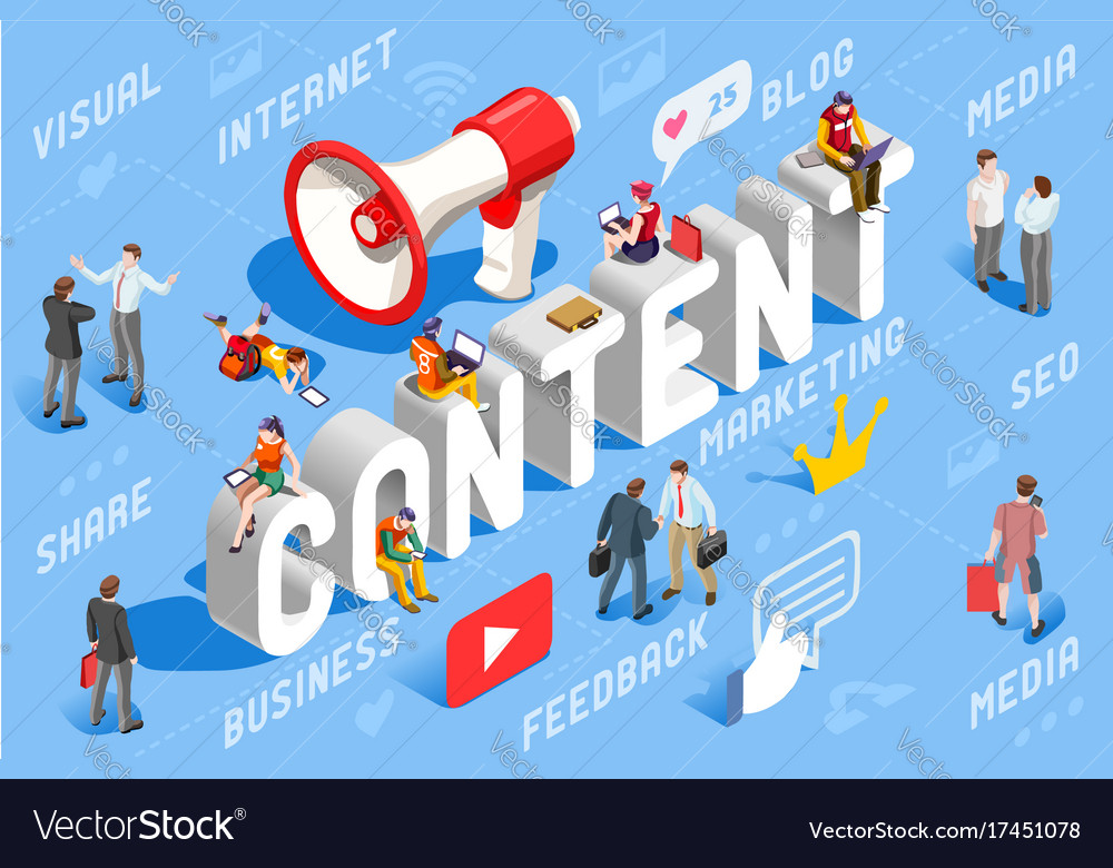 Content marketing business concept vector image