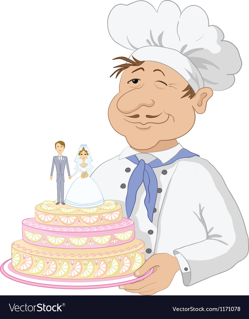 Cook with holiday wedding cake Royalty Free Vector Image