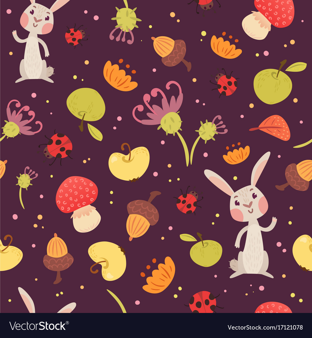 Cute rabbits and plants seamless pattern